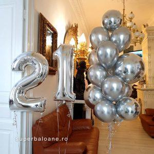 Baloane aniversare cifre 21 decor baloane cu heliu