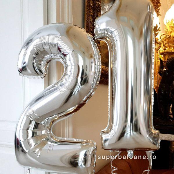 Baloane cifre argintii umflate cu heliu