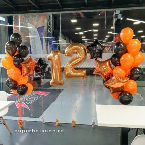 Baloane cu heliu petrecere copii I Baloane cifre 12 aurii I 2 buchete baloane cu heliu negre și portocalii